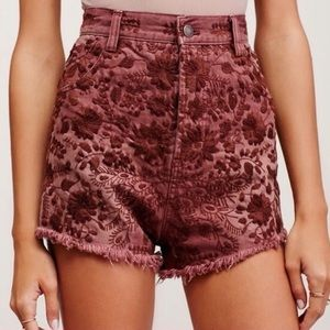 Free People Denim Embroidered Shorts